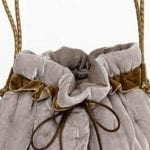 Beige silk velvet handbag detail