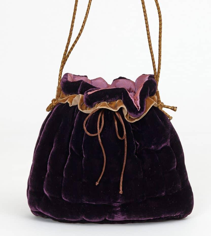 Aubergine silk velvet handbag