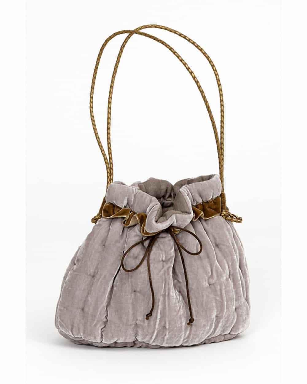 Velvet handbag, beige