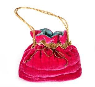 Pink silk velvet handbag