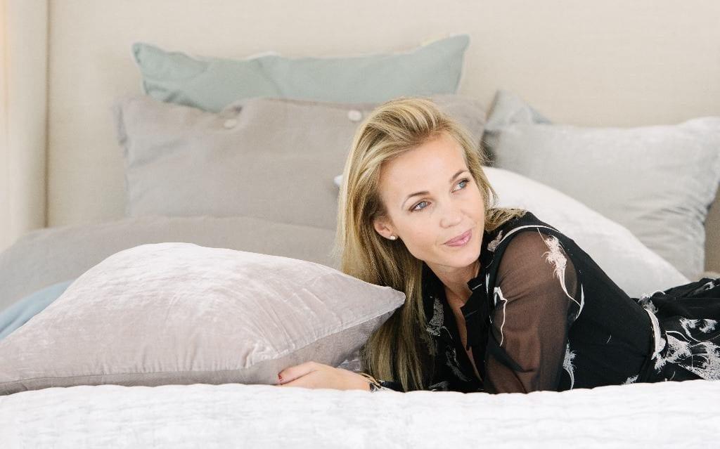 Tina Lund on silk velvet bedspread